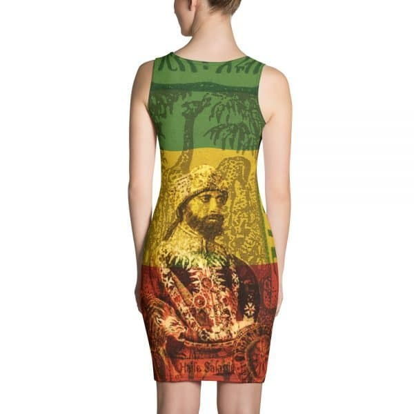 Haile Selassie Bodycon dress in the rasta colors. This Rastafarian Reggae dress looks fabulous and Rasta Gear Shop original Jamaican merchandise