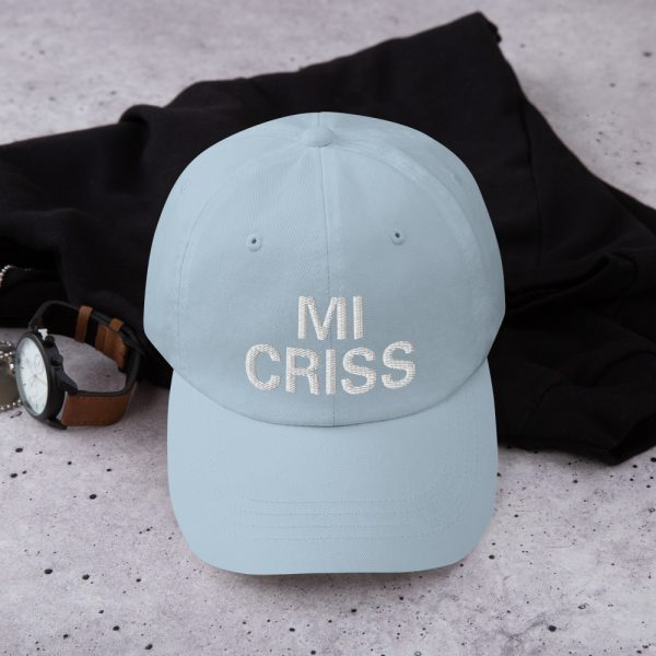 Mi Criss Dad Hat in baby blue. Jamaican Patois embroidered cap. Dad hats aren't just for dads. This one's got a low profile with an adjustable strap and curved visor. Rasta Gear Shop original Rastafarian, Reggae and Jamaican merchandise, hats, clothing and shoes.
