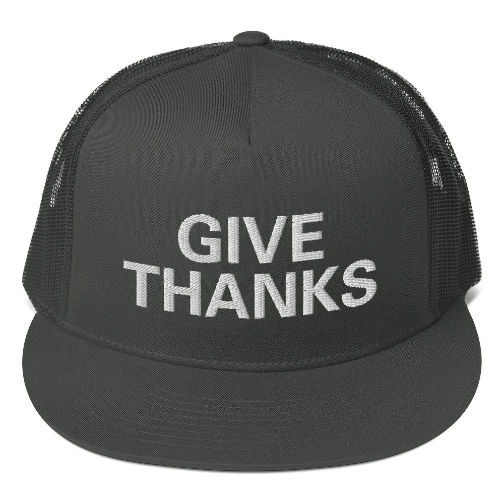 Give Thanks trucker cap classic style with a cool fabric blend. Rastagearshop original Rastafarian, Reggae and Jamaican clothing and merchandise.