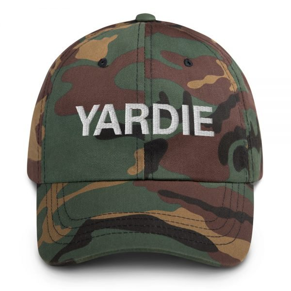 Yardie Dad hat in army camouflage military style. These Jamaican Patois Rasta caps aren't just for dads. This one's got a low profile with an adjustable strap and curved visor. Quality Rasta Reggae and Jamaican Merchandise available at rastagearshop.com