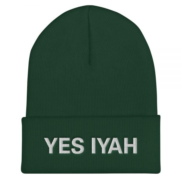Yes Iyah Cuffed Beanie in Turbo Acrylic Red Green Black and Navy Blue colors. Rasta Gear Shop Original Jamaican Rasta embroidered design.