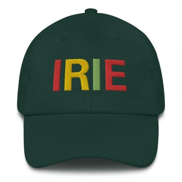Irie Rasta Dad Hat in forest green with embroidered letters in the Rasta colors. Rasta hats and caps. This one's got a low profile with an adjustable strap.Rasta Gear Shop original clothing hats and merchandise.