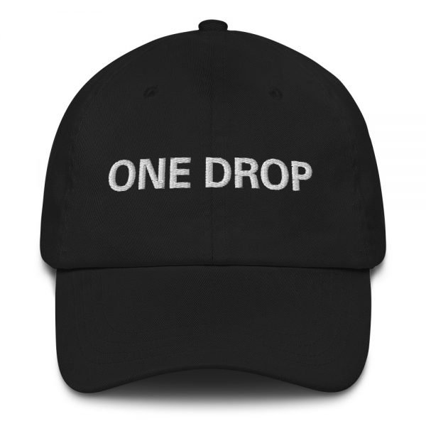 One Drop Dad hat in black. These reggae caps aren't just for dads. This one's got a low profile with an adjustable strap and curved visor. Rasta Gear Shop quality reggae, Rastafarian and Jamaican Patois clothing hats and merchandise
