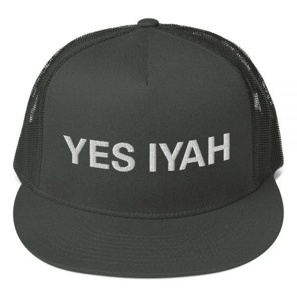 Yes Iyah trucker cap classic Jamaican style with a cool fabric blend. Rasta Gear Shop Original Rastafarian, Jamaican and Reggae Designs on Merchandise and Clothing