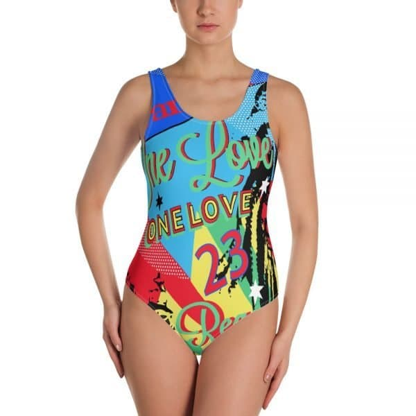 Reggae Party One-Piece Swimsuit. Jamaican One Love Reggae Party design. This one-piece swimsuit for all figures will bring out your best features. Enjoy the smooth fabric and the flattering design, and show it off by the sea or pool. Rastagearshop Design.