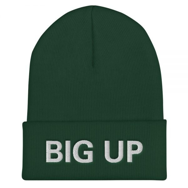 Big Up Beanie in forest green. A snug, form-fitting beanie. It's not only a great head-warming piece but a staple accessory in anyone's wardrobe. Rasta Gear Shop Original Rastafarian Jamaican Reggae Merchandise and Clothing.