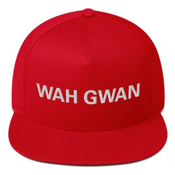 Wah Gwan Flat Bill Cap in red. Jamaican Rasta Patwa Embroidered Cap. The high-profile fit and a green undervisor make this cap a classic with an added pop.