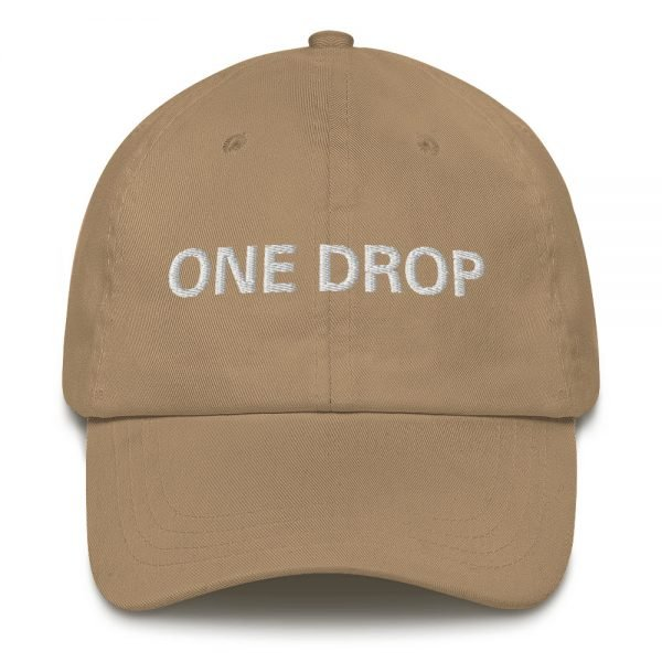 One Drop Dad hat in beige. These reggae caps aren't just for dads. This one's got a low profile with an adjustable strap and curved visor. Rasta Gear Shop quality reggae, Rastafarian and Jamaican Patois clothing hats and merchandise