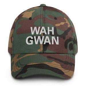 Wah Gwan Dad Hat army camouflage military style. Jamaican Patois embroidered Jamaican cap. Dad hats aren't just for dads. This one's got a low profile with an adjustable strap and curved visor. Rasta Gear Shop original merchandise and clothing.