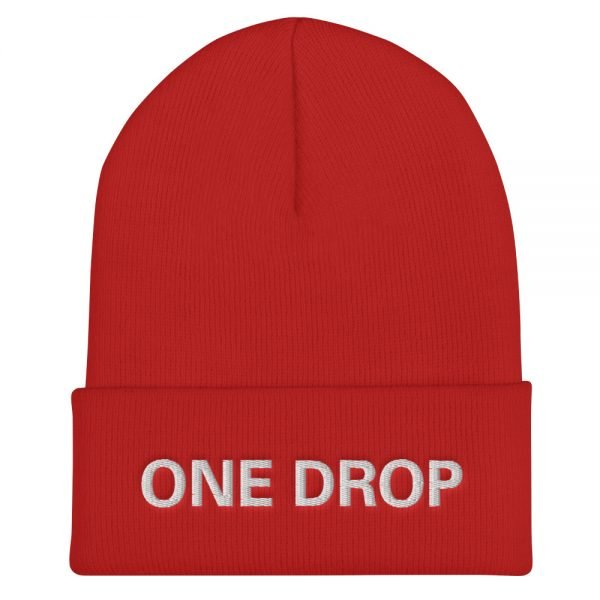 One Drop Reggae cuffed beanie in red at Rastagearshop. Embroidered reggae beanie in a snug, form-fitting style. Original Rasta Merchandise Hats and Clothing.