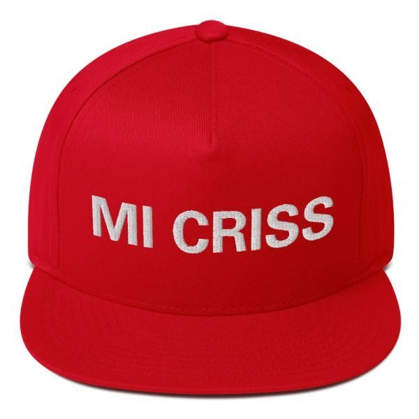 Mi Criss Rasta flat bill cap in red. Jamaican patois embroidered letters. Classic Jamaican Cap. The high-profile fit and a green undervisor make this cap a classic with an added pop of color.Rastagearshop quality Jamaican merchandise.