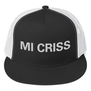 Mi Criss trucker Cap. Jamaican Patois embroidered letters. Classic Jamaican trucker cap style with a cool fabric blend. Rasta gear shop quality Jamaican merchandise caps and clothing.