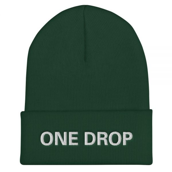 One Drop Reggae cuffed beanie in forest green at Rastagearshop. Embroidered reggae beanie in a snug, form-fitting style. Original Rasta Merchandise Hats and Clothing.