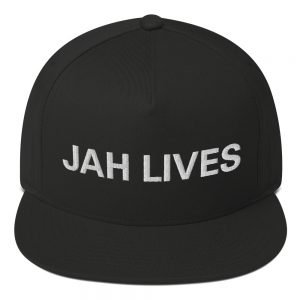 Jah Lives Flat Bill Cap in selection of colors. Rasta Gear Shop Original Rastafarian Reggae and Jamaican Designs on Clothing and Merchandise.