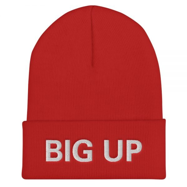 Big Up Beanie in red. A snug, form-fitting beanie. It's not only a great head-warming piece but a staple accessory in anyone's wardrobe. Rasta Gear Shop Original Rastafarian Jamaican Reggae Merchandise and Clothing.