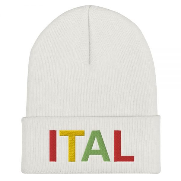 Ital Rasta cuffed beanie in white. This reggae beanie. It's not only a great head-warming piece but a staple accessory in anyone's wardrobe.