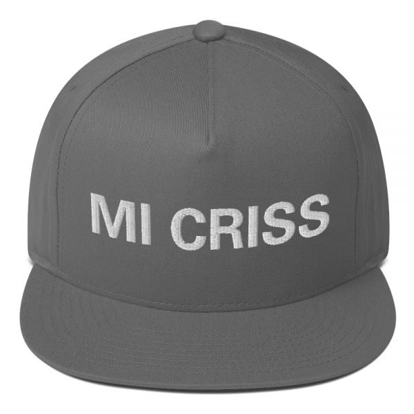 Mi Criss Rasta flat bill cap in grey. Jamaican patois embroidered letters. Classic Jamaican Cap. The high-profile fit and a green undervisor make this cap a classic with an added pop of color.Rastagearshop quality Jamaican merchandise.