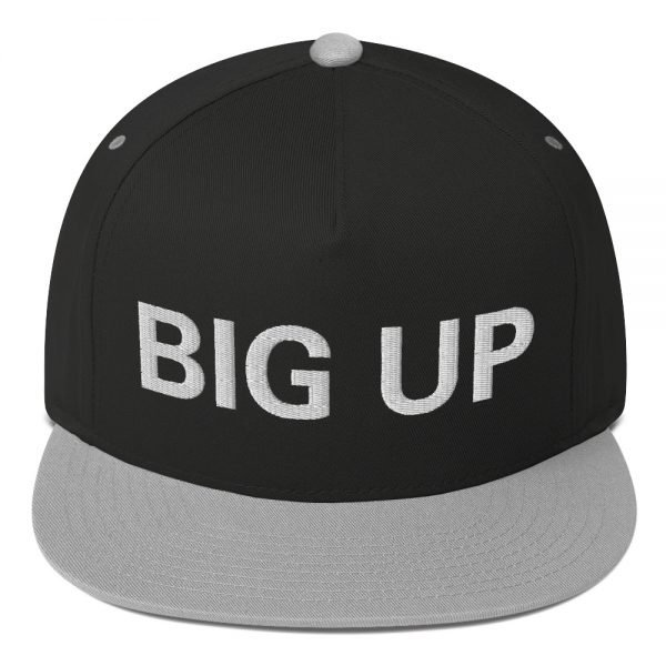 Big Up Flat bill Cap in black and grey The high-profile fit and a green undervisor make this cap a classic with an added pop of color. Rasta Gear Shop Original Rastafarian Jamaican Reggae Merchandise and Clothing