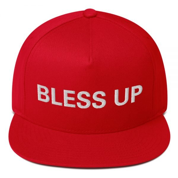 Bless Up flat bill Cap in red. The high-profile fit and a green undervisor make this cap a classic with an added pop of color. Rasta Gear Shop Original Rastafarian Jamaican Reggae Merchandise and Clothing.