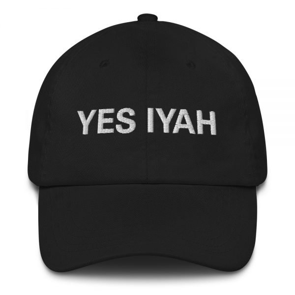 Yes Iyah Dad Hat in black. Jamaican Rasta Dad hats aren't just for dads. This one's got a low profile with an adjustable strap and curved visor. Rasta Gear Shop Original Rastafarian, Jamaican and Reggae Designs on Merchandise and Clothing.
