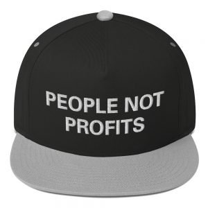 People not Profits flat bill cap grey and white. The high-profile fit and a green undervisor make this cap a classic with an added pop of color.