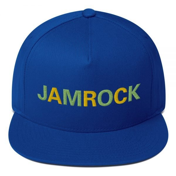 Jamrock Jamaican cap in royal blue. The high-profile fit and a green under-visor make this cap a classic with an added pop of color. Rasta Gear Shop Original Rastafarian Reggae Jamaican Designs on clothing and Merchandise.