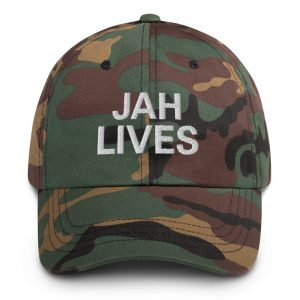 Jah Lives Dad Hat in a military camouflage style. Rasta Gear Shop Original Rastafarian Reggae and Jamaican Designs on Clothing and Merchandise.