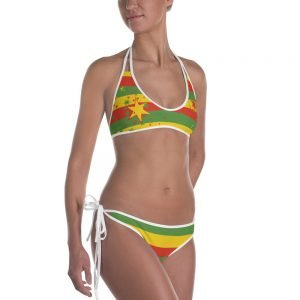 Rasta Stars reversible bikini in rasta colors. Jamaican Reggae Rastafarian clothing at Rasta Gear Shop