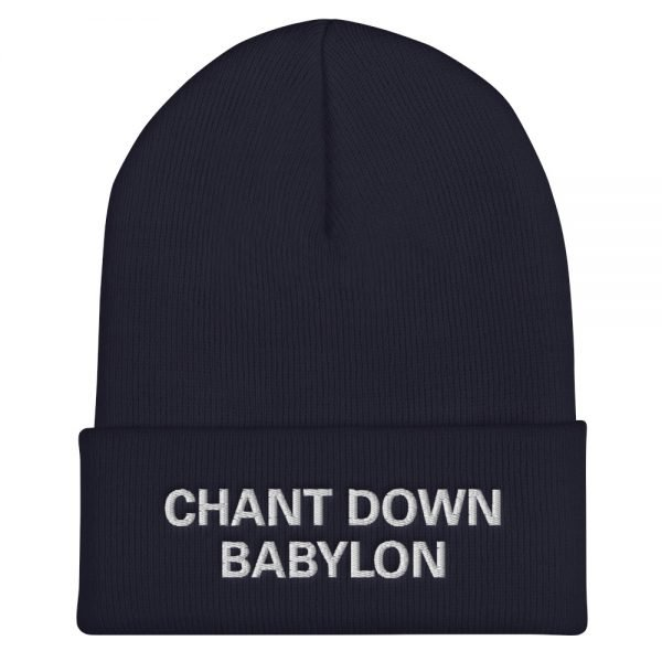 Chant Down Babylon Rasta beanie in navy blue. A snug, form-fitting beanie. It's not only a great head-warming piece but a staple accessory in anyone's wardrobe. Rasta Gear Shop Original Rastafarian, Jamaican and Reggae Designs on Merchandise and Clothing