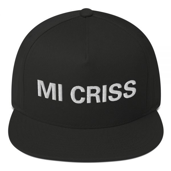 Mi Criss Rasta flat bill cap in black. Jamaican patois embroidered letters. Classic Jamaican Cap. The high-profile fit and a green undervisor make this cap a classic with an added pop of color.Rastagearshop quality Jamaican merchandise.