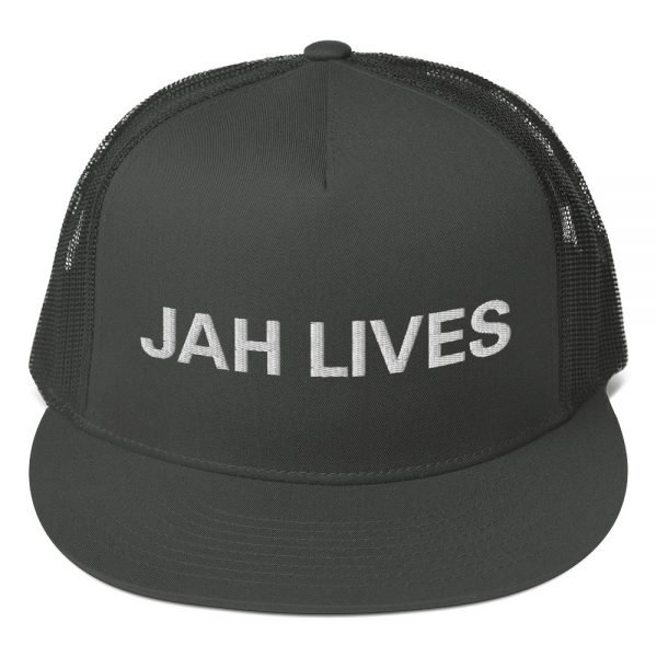 Jah Lives trucker cap style with a cool fabric blend. Rasta Gear Shop Original Rastafarian Reggae and Jamaican Designs on Clothing and Merchandise.