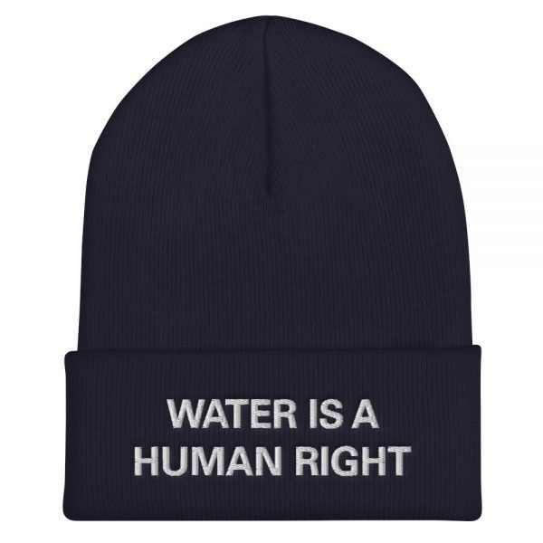 Water is a Human Right Cuffed Beanie in navy A snug, form-fitting beanie. It's not only a great head-warming piece but a staple accessory in anyone's wardrobe. Rasta Gear Shop Original Rastafarian Jamaican Reggae Merchandise and Clothing.
