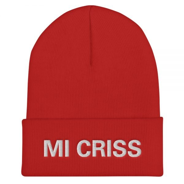 Mi Criss cuffed beanie in red. Embroidered Jamaican Patois letter. A snug, form-fitting beanie. It's not only a great head-warming piece but a staple accessory in anyone's wardrobe. Rasta Gear Shop quality Jamaican Merchandise, Hats and Clothing.