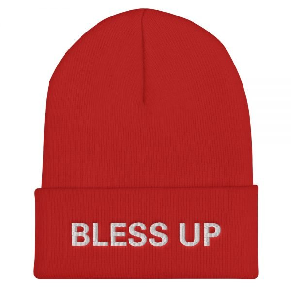 Bless Up cuffed beanie in red. A snug, form-fitting beanie. It's not only a great head-warming piece but a staple accessory in anyone's wardrobe. Rasta Gear Shop Original Rastafarian Jamaican Reggae Merchandise and Clothing.