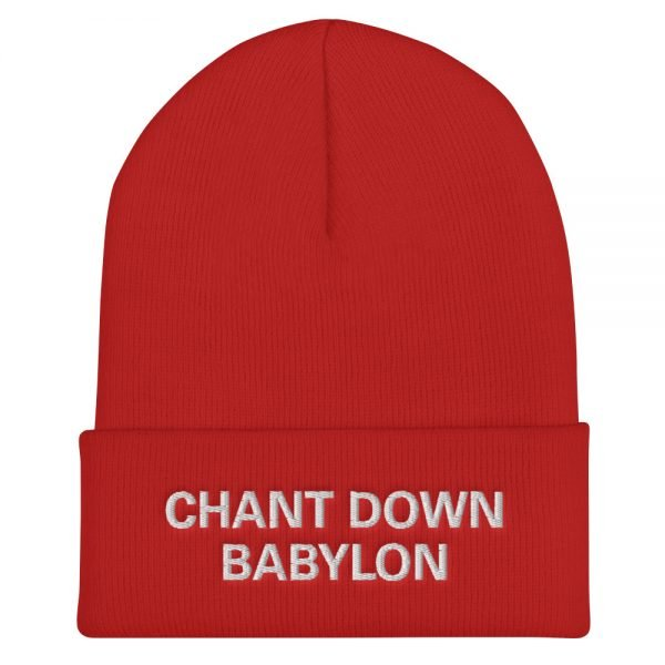 Chant Down Babylon Rasta beanie in red, form-fitting beanie. It's not only a great head-warming piece but a staple accessory in anyone's wardrobe. Rasta Gear Shop Original Rastafarian, Jamaican and Reggae Designs on Merchandise and Clothing