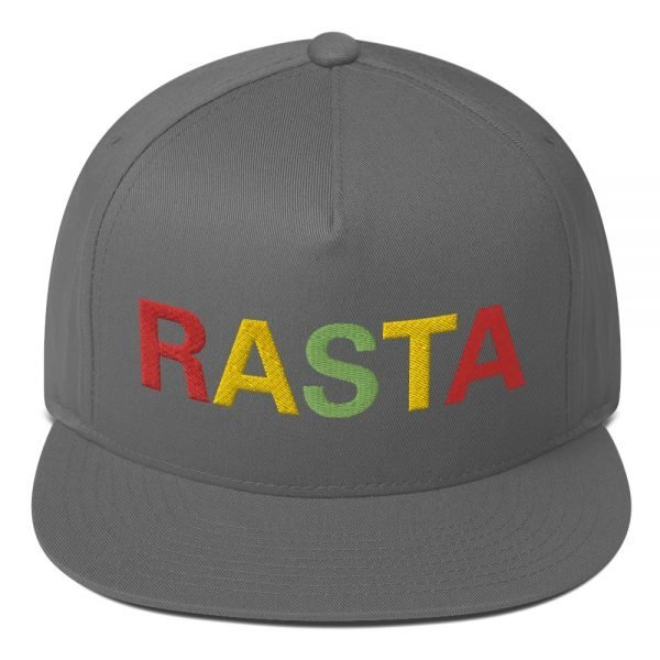 Rasta flat bill cap pale grey and embroidered in the reggae colors. This reggae hat as a high-profile fit and a green undervisor.