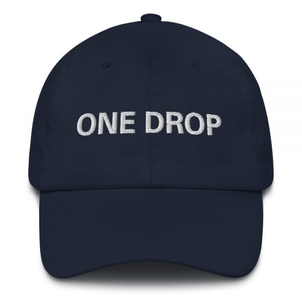 One Drop Dad hat in navy blue. These reggae caps aren't just for dads. This one's got a low profile with an adjustable strap and curved visor. Rasta Gear Shop quality reggae, Rastafarian and Jamaican Patois clothing hats and merchandise