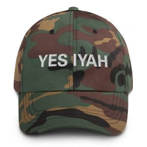 Yes Iyah Dad Hat in camouflage military style. Jamaican Rasta Dad hats aren't just for dads. This one's got a low profile with an adjustable strap and curved visor. Rasta Gear Shop Original Rastafarian, Jamaican and Reggae Designs on Merchandise and Clothing.