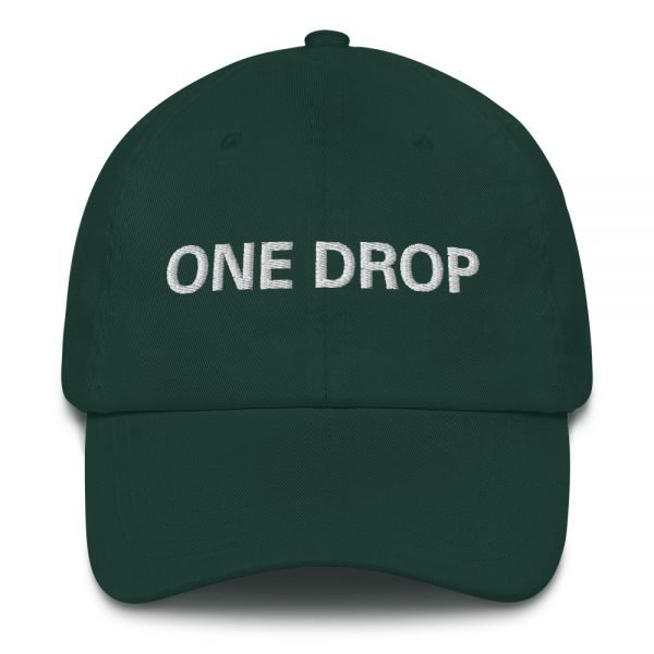 One Drop Dad hat in forest green. These reggae caps aren't just for dads. This one's got a low profile with an adjustable strap and curved visor. Rasta Gear Shop quality reggae, Rastafarian and Jamaican Patois clothing hats and merchandise