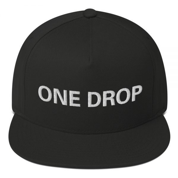 One Drop flat bill Cap in black. The high-profile fit and a green undervisor make this cap a classic with an added pop of color.Embroidered reggae hat at Rasta Gear Shop, quality Reggae and Rastafarian merchandise.