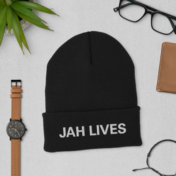 Jah Lives Cuffed Beanie turbo acrylic in black. A snug, form-fitting beanie. Rasta Gear Shop Original Design