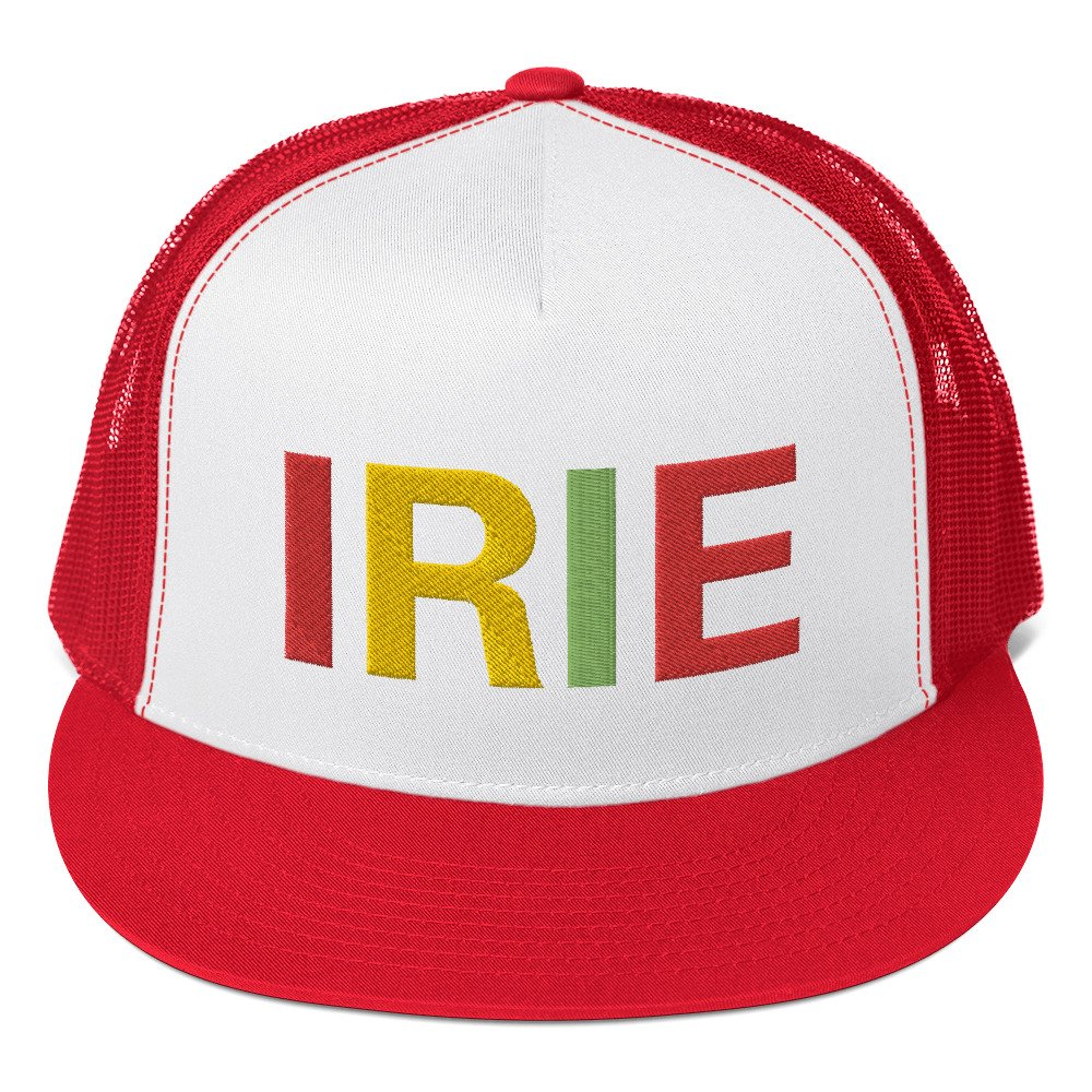 Irie Rasta trucker cap classic style red and white with a cool fabric blend. Original Rasta Gear Shop Jamaican Reggae and Rastafarian Designs on clothing and merchandise.