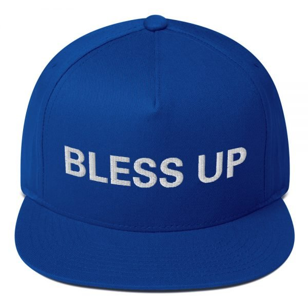 Bless Up flat bill Cap in royal blue. The high-profile fit and a green undervisor make this cap a classic with an added pop of color. Rasta Gear Shop Original Rastafarian Jamaican Reggae Merchandise and Clothing.