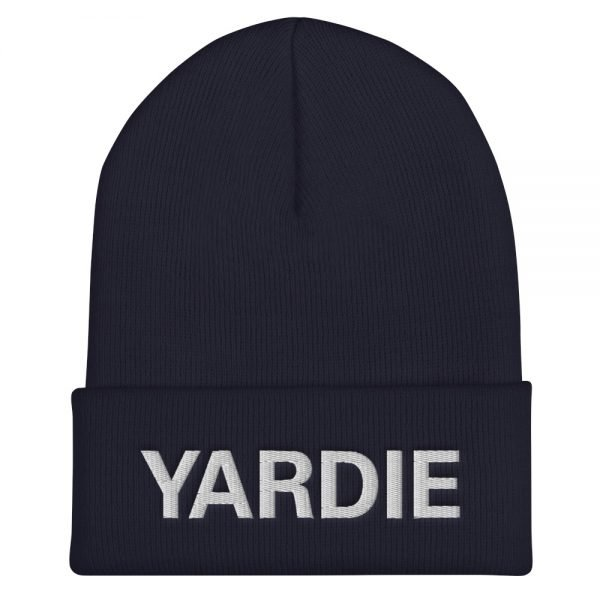 Yardie Cuffed Beanie in navy blue. A snug, Jamaican Patois hat. Rasta Gear Shop original reggae Jamaican and Rastafarian Designs on merchandise.