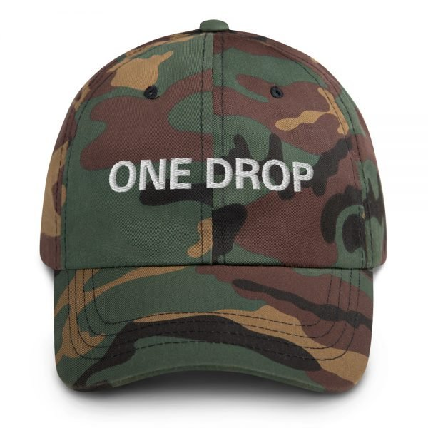 One Drop Dad hat in camouflage military style. These reggae caps aren't just for dads. This one's got a low profile with an adjustable strap and curved visor. Rasta Gear Shop quality reggae, Rastafarian and Jamaican Patois clothing hats and merchandise