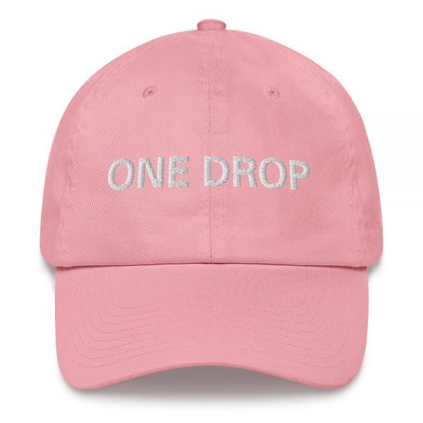 One Drop Dad hat in pink. These reggae caps aren't just for dads. This one's got a low profile with an adjustable strap and curved visor. Rasta Gear Shop quality reggae, Rastafarian and Jamaican Patois clothing hats and merchandise