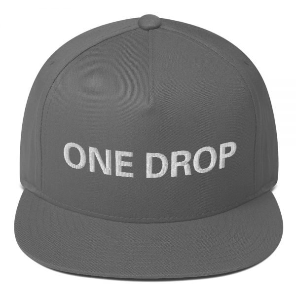 One Drop flat bill Cap in grey. The high-profile fit and a green undervisor make this cap a classic with an added pop of color.Embroidered reggae hat at Rasta Gear Shop, quality Reggae and Rastafarian merchandise.