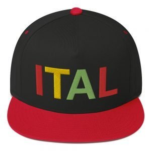 Ital Rasta flat bill cap in red and black. An original Rastagearshop design embroidered in the reggae colors.