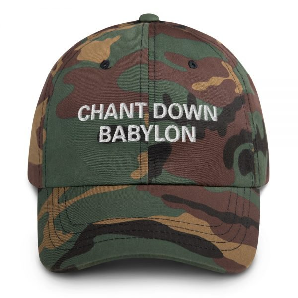 Chant Down Babylon Dad Hat in camouflage military style. Dad hats aren't just for dads. This one's got a low profile with an adjustable strap and curved visor. Rasta Gear Shop Original Rastafarian, Jamaican and Reggae Designs on Merchandise and Clothing