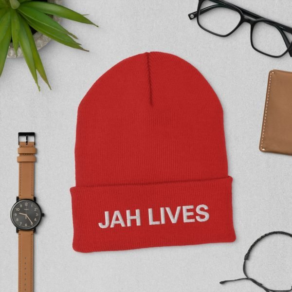 Jah Lives Cuffed Beanie turbo acrylic in a red. A snug, form-fitting beanie. Rasta Gear Shop Original Design